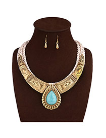 Vintage Gold Color Wwaterdrop Shape Gemstone Pendant Decorated Hand-woven Jewelry Sets