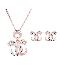 Personality Rose Color Cross Cheetah Pendant Decorated Long Chain Jewelry Sets