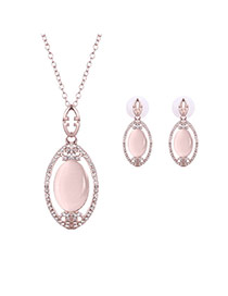 Elegant Light Pink Oval Gemstone Pendant Decorated Long Chain Jewelry Sets