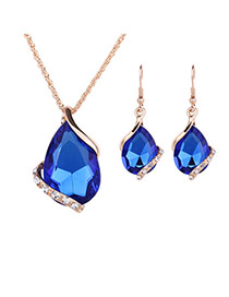 Delicate Blue Diamond Decorated Oval Shape Pendant Decorated Jewelry Sets