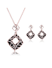 Vintage Black Hollow Out Square Shape Pendant Decorated Long Chian Jewelry Sets