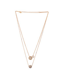 Fashion Gold Color Diamond Ball Pendant Decorated Double Layer Necklace