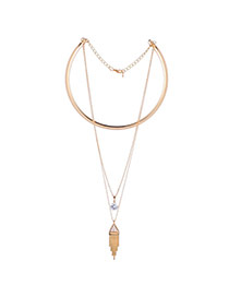 Elegant Gold Color Tassel Pendant Decorated Collar Necklace