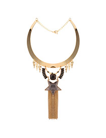 Exaggerated Gold Color Tassel&star Shape Gemstone Decorated Collar Necklace