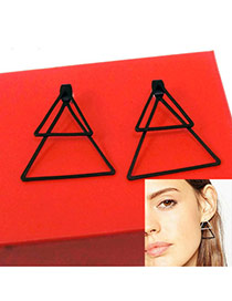 Fashion Black Double Triangle Shape Pendant Decorated Pure Color Earrings