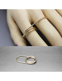 Exaggerated Gold Color Pure Color Design Multi-layer Simple Ring
