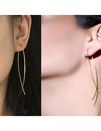 Personalized Gold Color Pure Color Design Interweave Simple Earrings