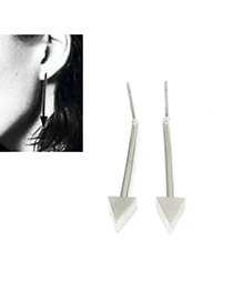 Exaggerated Silver Color Triangle Shape Decorated Pure Color Earrings