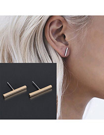 Elegant Gold Color Pure Color Design Vertical Shape Earrings