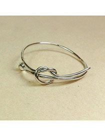 Fashion Silver Color Pure Color Design Knot Shape Simple Bracelet