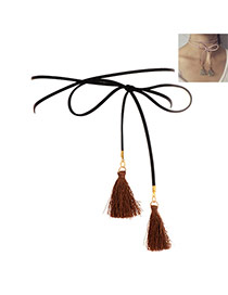 Fashion Black Tassel Pendant Decorated Double Layer Simple Necklace
