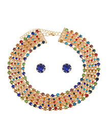 Brilliant Multi-color Round Shape Decorated Simple Multilayer Jewelry Sets