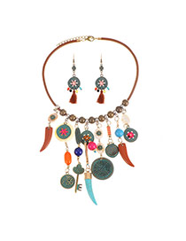 Bohemia Multi-color Tassel Decorated Simple Short Chain Jewelry Sets