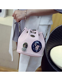 Fashion Pink Badge Pattern Decorated Bucket Shape Design Shoulder Bag