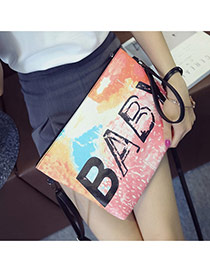 Lovely Pink Cartoon Pattern Decorated Square Shape Simple Messenger Bag