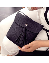 Fashion Black Tassel Pendant Decorated Pure Color Shoulder Bag