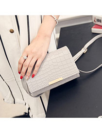 Fashion Gray Crocodile Stripe Pattern Decorated Pure Color Magnetic Snap Shoulder Bag