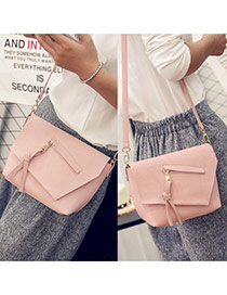 Elegant Pink Tassel Pendant Decorated Pure Color Simple Shoulder Bag