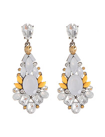 Luxury Yellow Waterdrop Gemstone Decorated Simple Earring