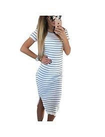 Sexy White+black Short Sleeve Decorated Stripe Pattern Split Dress
