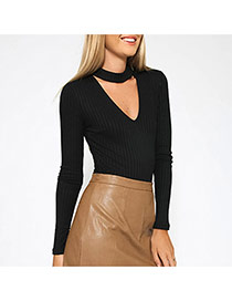 Sexy Black V Neckline Decorated Long Sleeve Pure Color Short Jumpsuits