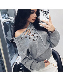 Sexy Gray Bandage Neckline Decorated Long Sleeve Pure Color Sweater