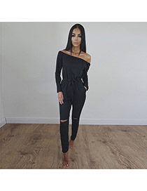 Sexy Black Off-the-shoulder Decorated Pure Color Hole Jumpsuits
