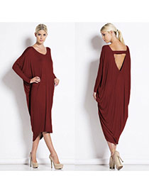 Sexy Claret-red Backless Decorated Batwing Long Sleeve Irregular Dress