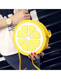 Cute Yellow Lemon Pattern Decorated Round Shape Shoulder Bag