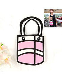 Cute Pink Cartoon 3d Letter Pattern Decorated Simple Handbag