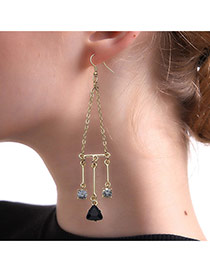 Fashion Gold Color Triangle&round Shape Pendant Decorated Long Earrings