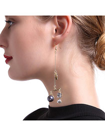 Fashion Gold Color Geometric Shape Pendant Decorated Long Earrings