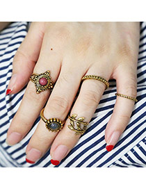 Vintage Gold Color Round Shape Gemstone Decorated Simple Rings(5pcs)