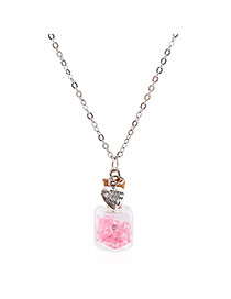 Lovely Pink Flower&heart Shape Pendnat Decorated Simple Long Chain Necklace