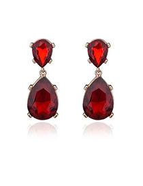 Elegant Red Oval Diamond Shape Pendant Decorated Simple Earrings