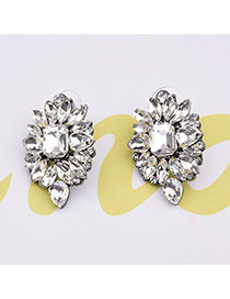 Delicate White Geometric Shape Diamond Decorated Pure Color Design Earrings