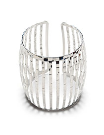 Fashion Silver Color Hollow Out Design Pure Color Vertical Shape Opening Bracelet
