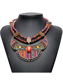 Vintage Red Oval Shape Gemstone Decorated Double Layer Hand-woven Necklace