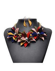 Exaggerated Multi-color Leaf&diamond Decorated Flower Shape Jewelry Sets