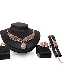 Fashion Rose Gold Water Drop Shape Pendant Decorated Hollow Out Jewelry Sets