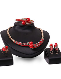 Fashion Red Pears Decorated Hollow Out Design Jewelry Sets