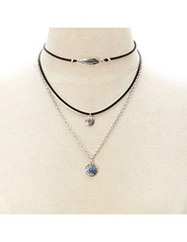 Fashion Silver Color Round Shape&leaf Pendant Decorated Multi-layer Necklace
