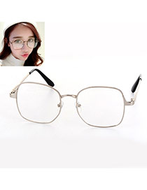 Fashion Silver Color Square Shape Frame Decorated Simple Glasses