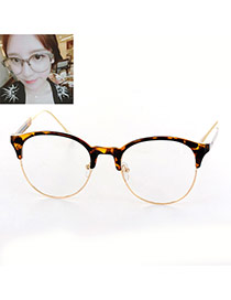 Fashion Tortie Color Matching Design Round Frame Simple Glasses