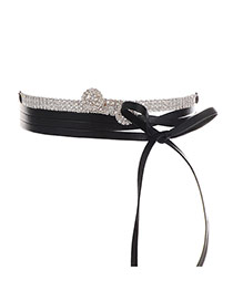 Fashion Silver Color Bowknot Shape Decorated Double Layer Choker