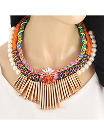 Fashion Orange Vertical Shape&pearls Decorated Multi-layer Collar Necklace