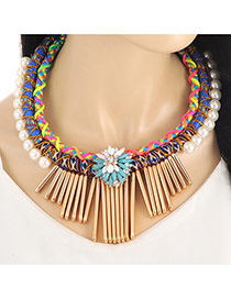 Fashion Sapphire Blue Vertical Shape&pearls Decorated Multi-layer Collar Necklace