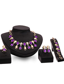 Fashion Purple Water Drop Shape Pendant Decorated Simple Jewelry Sets