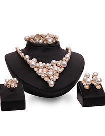 Fashion Gold Color+white Pearls Decorated Triangle Shape Jewelry Sets