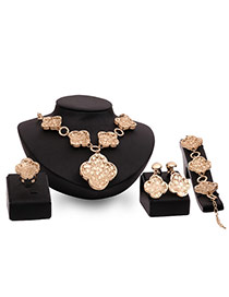 Fashion Gold Color Flower Shape Pendant Decorated Pure Color Jewelry Sets
